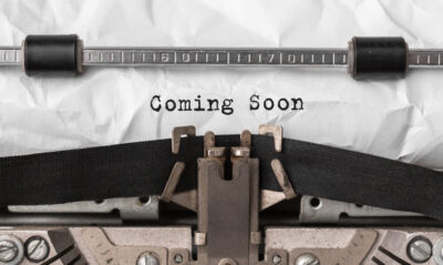 text coming soon typed retro typewriter
